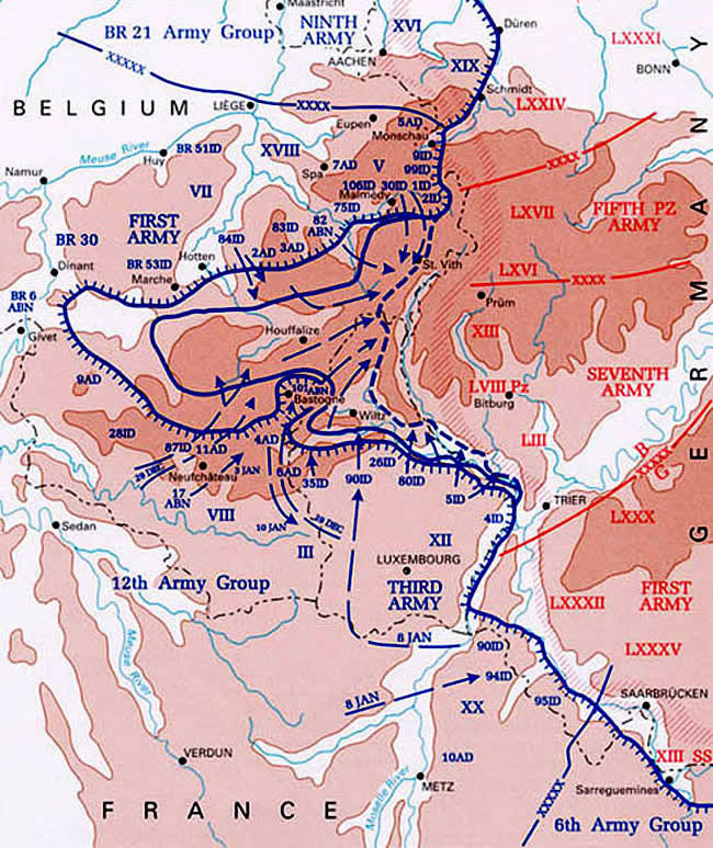 Map Battle of Bulge December to January