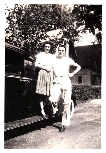 Dix and Helen with black car