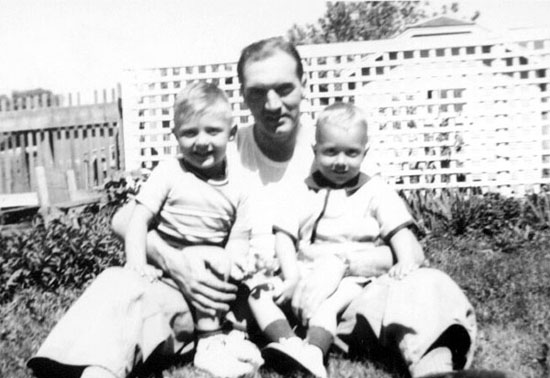 Freer with his sons, Billy and Bob 1944