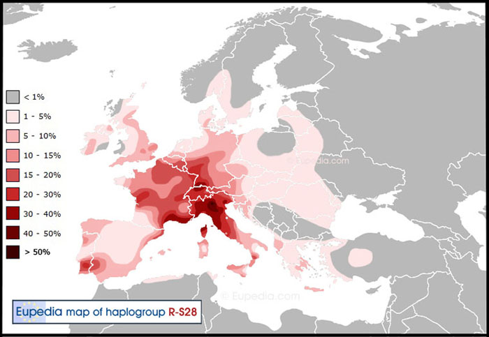 Haplogroup R-U152 Distribution Map