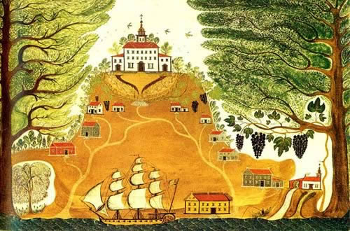 Painting of Byrd Plantation around 1700