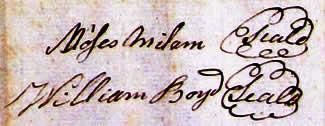 Moses Milam and William Boyd signatures 1783