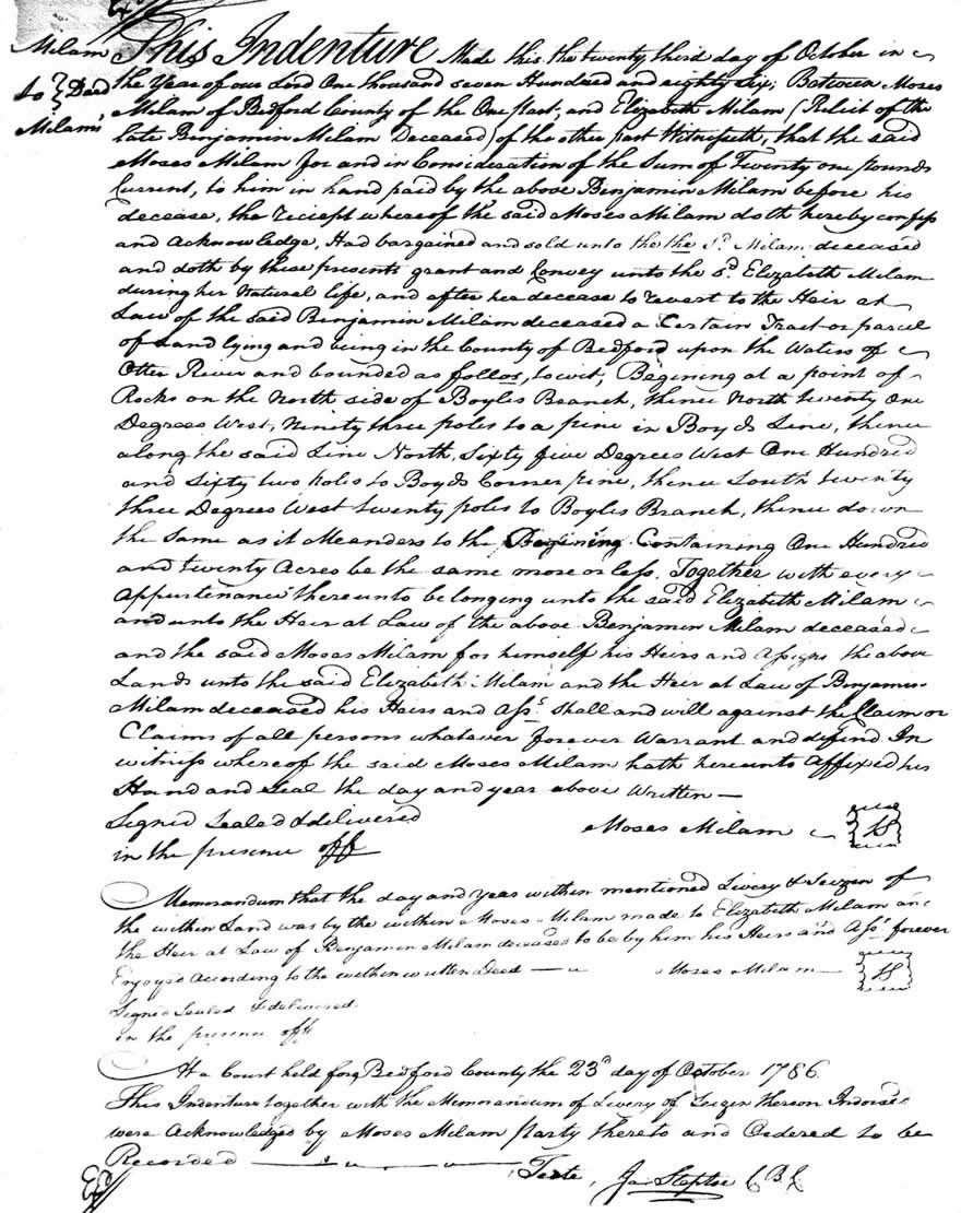 Image Moses Milam Deed to Elizabeth Milam 23 OCT 1786