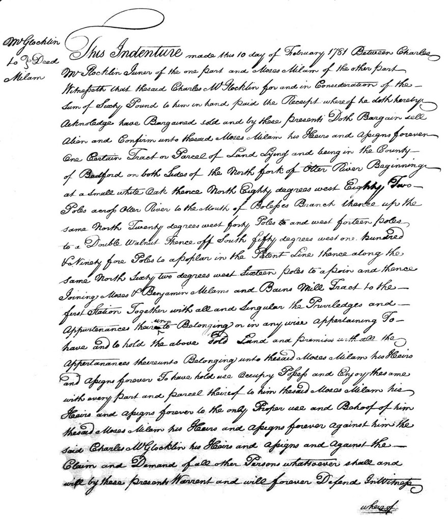 Moses Milma Purchase Deed 10 FEB 1781
