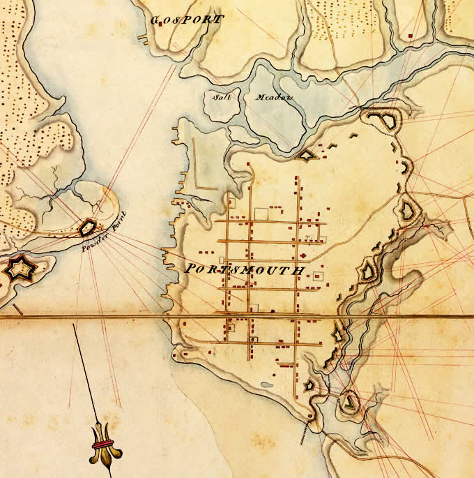 Map of the Bristish Defenses of Portsmouth 1781