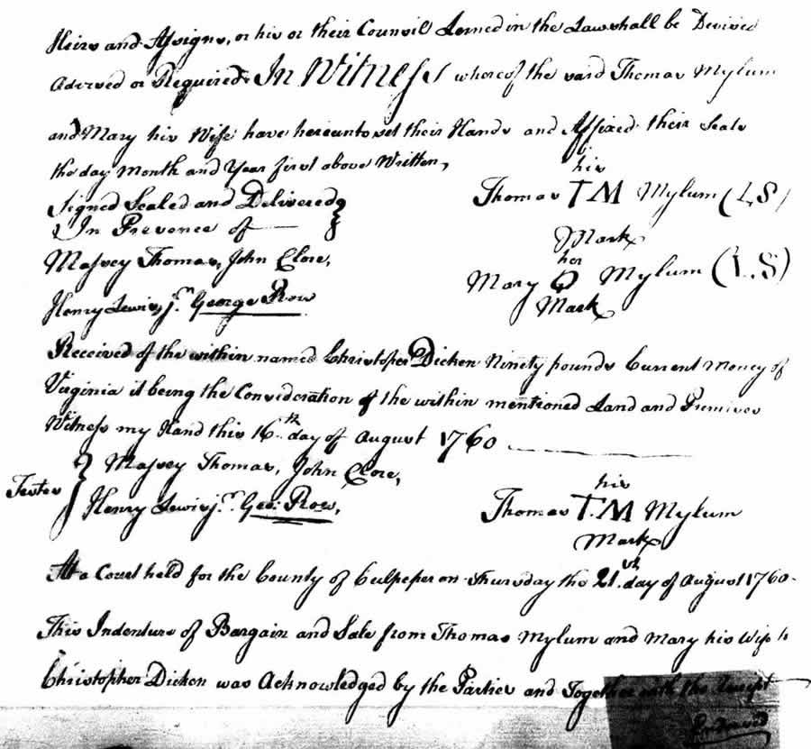 Image of Thomas Milam Deed to Dicken 17 August 1760