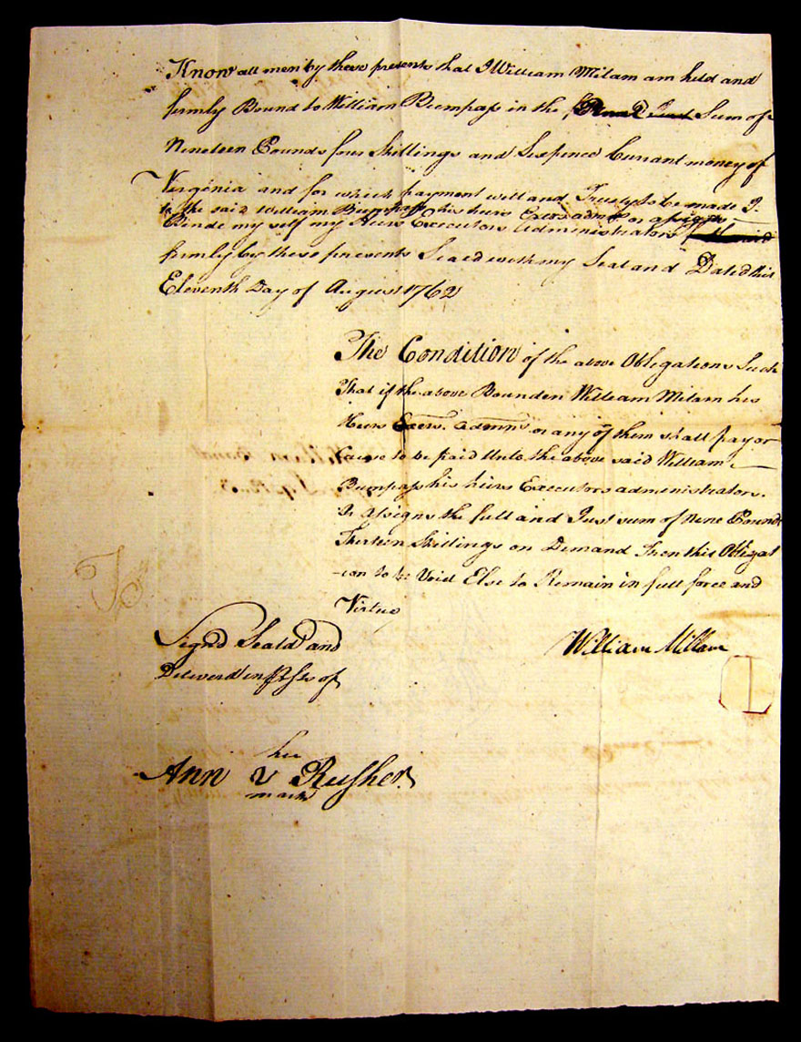 Photo of Wm Millam's Bond to Wm Bumpass