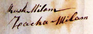 Rush Milam and Zachariah Milam signatures 1785